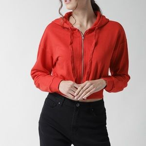 Forever 21 Red Cropped Hoodie Size Small